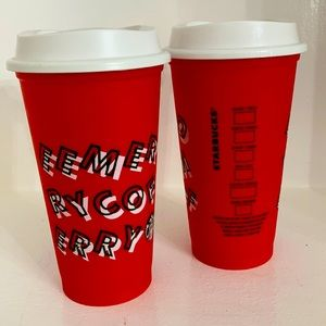 Starbucks 2019 Holiday Merry Coffee Reusable Cups